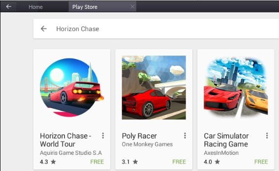 Click on Horizon Chase