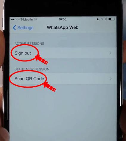 WhatsApp web version for iPhone sign out picture