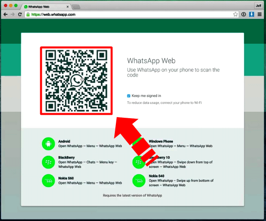 WhatsApp web version for iPhone QR code scanning image