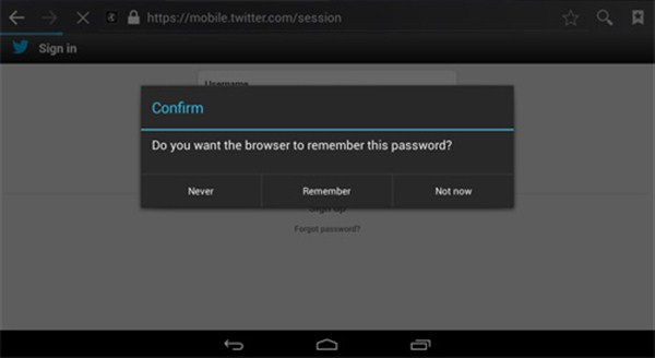 Don't save password -internet-secure-android smartphone image